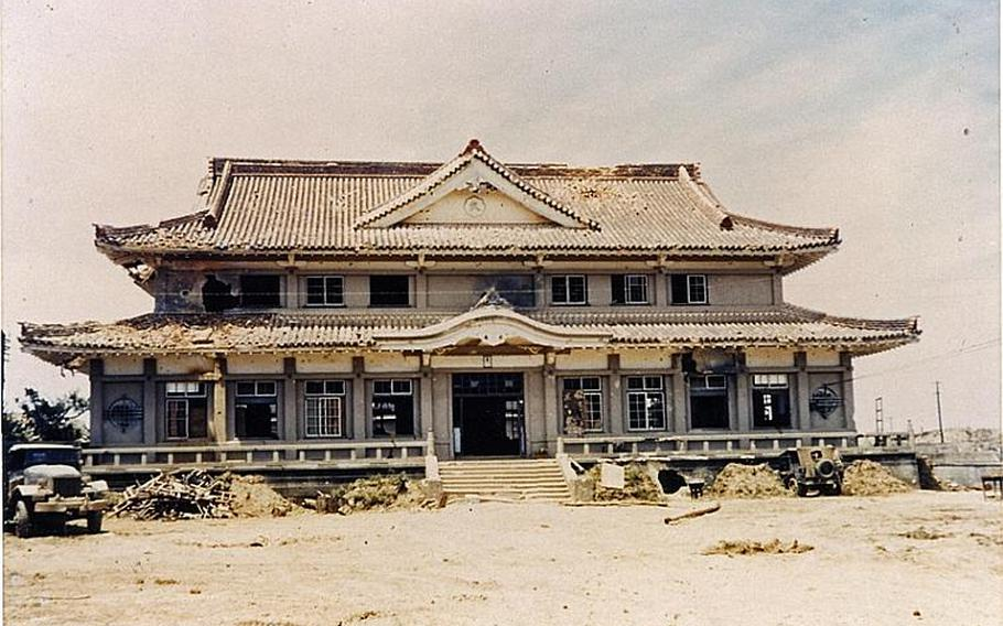 Okinawa Martial Arts Arena, one of few buildings that survived the 82-day ground battle. Army Lt Gen. Simon B. Buckner, Jr., who led Army and Marine troops in the Battle of Okinawa, took numerous numbers of photos before he was killed in June 18, 1945, when fragments of an artillery shell struck him atop a ridge in southwestern tip on the island.