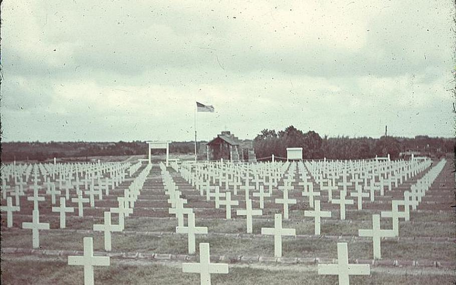 The Sixth Marine Division Cemetery located on Camp Hansen. This photo was taken by Jerry Scholand, a Navy reserve officer and commander of a refugee camp in Nago shortly after the end of the Battle of Okinawa in 1945.