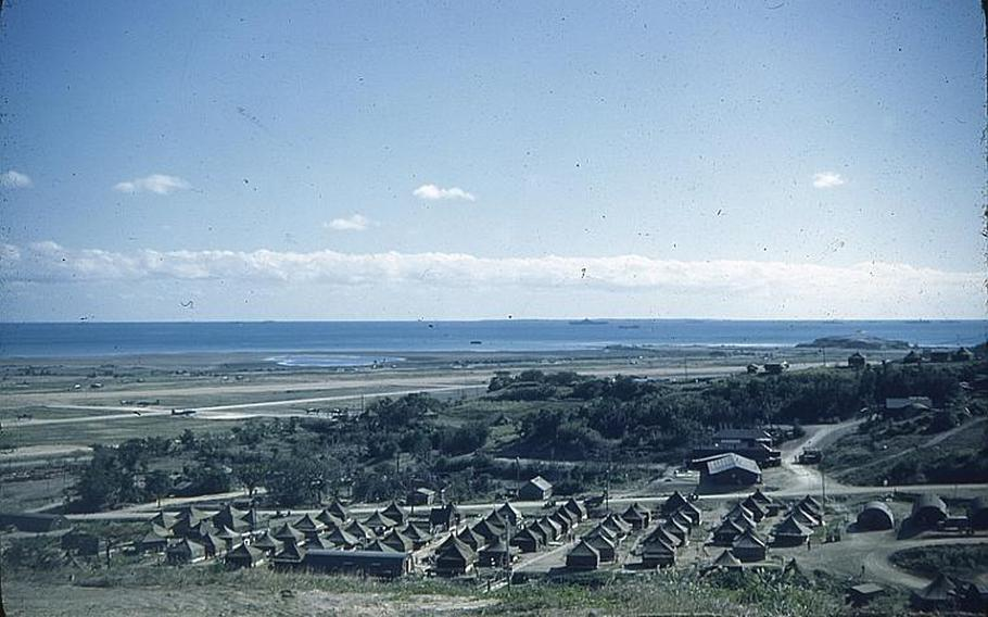 A refugee camp set up in the Taira community in Nago. Many such camps were built in northern and central parts of the island shortly after the end of the Battle of Okinawa. This photo was taken by Jerry Scholand, a Navy reserve officer and commander of a refugee camp in Nago shortly after the end of the Battle of Okinawa in 1945.