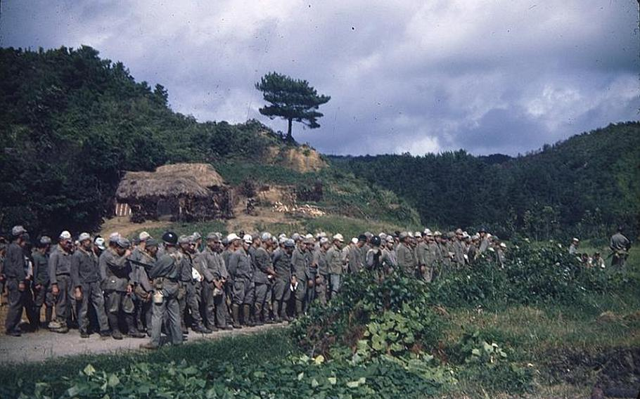 Japanese Imperial Army soldiers hiding in northern mountains surrendered after an battle on the island ended in June 23, 1945. This photo was taken by Jerry Scholand, a Navy reserve officer and commander of a refugee camp in Nago shortly after the end of the Battle of Okinawa in 1945.