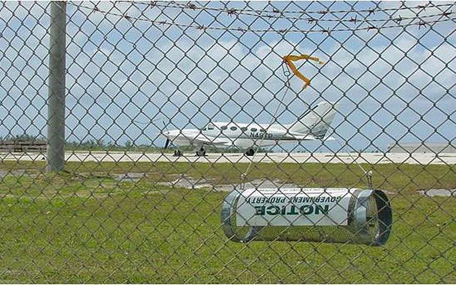 A brown tree snake trap hangs along the fence at Guam's international airport.