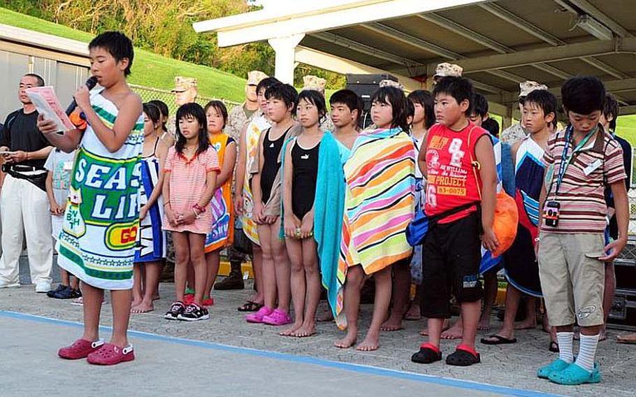 Koki Onodera, 12, of Oshima Elementary School, thanks everyone for making the trip to Okinawa possible as well as the warm hospitality they all received during the four-day cultural exchange/homestay program sponsored by Marine Corps Base Japan.