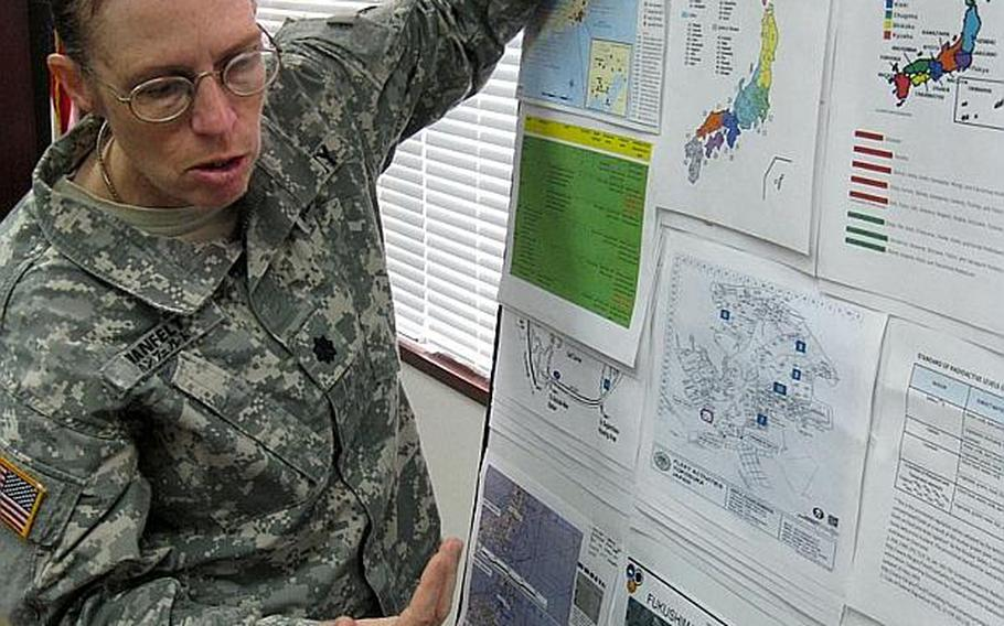 Lt. Col. Margery Hanfelt, commander of the Army's veterinary command in Japan, explains how radiation levels have been monitored in Japan since the nuclear crises began shortly after the massive March 11 earthquake and tsunami. The  command is tasked with the food safety testing mission for all the services.