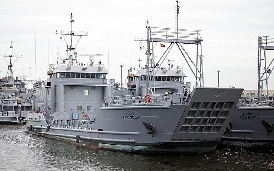 Soldiers tested the seaworthiness of its Land Craft Utility 2000 watercraft Wednesday at Yokohama North Dock.