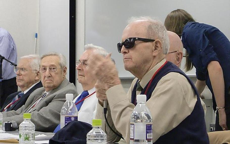 Jim Collier, 88, speaks to an audience during a lecture at Temple University on Oct. 17, 2011, in Tokyo. Collier and six other WWII POWs are touring Japan this week seeking closure to the brutal treatment they endured while held captive.