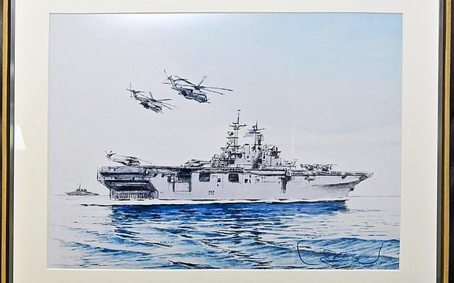 Takashi's painting of the USS Essex will hang in a passageway for the ship's crew and visitors alike to enjoy for years to come. The 68-year-old artist painted the Essex to thank the crew and the U.S. military for its aid and assistance during Operation Tomodachi earlier this year.