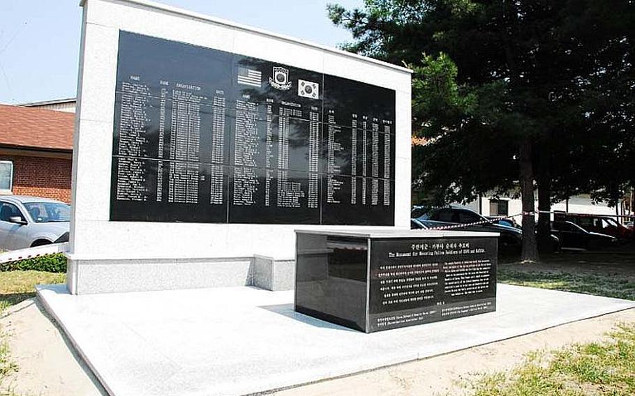 A monument to 130 U.S. and South Korean troops who have been killed in South Korea since the end of the Korean War will be dedicated on June 8, 2012. The monument is located at U.S. Army Garrison Yongsan near the 8th Army Headquarters building.