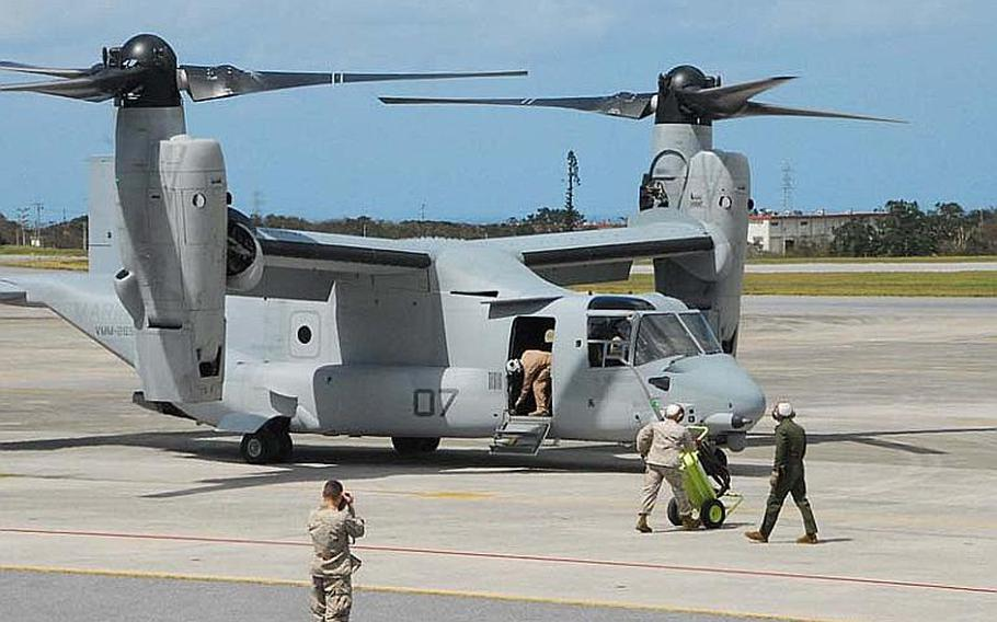A Marine Corps MV-22 Osprey sits on the tarmac at Futenma air station after arriving late morning Oct. 1, 2012, from Iwakuni. The  U.S. military has deployed the controversial aircraft to Okinawa despite fierce opposition by local Japanese.