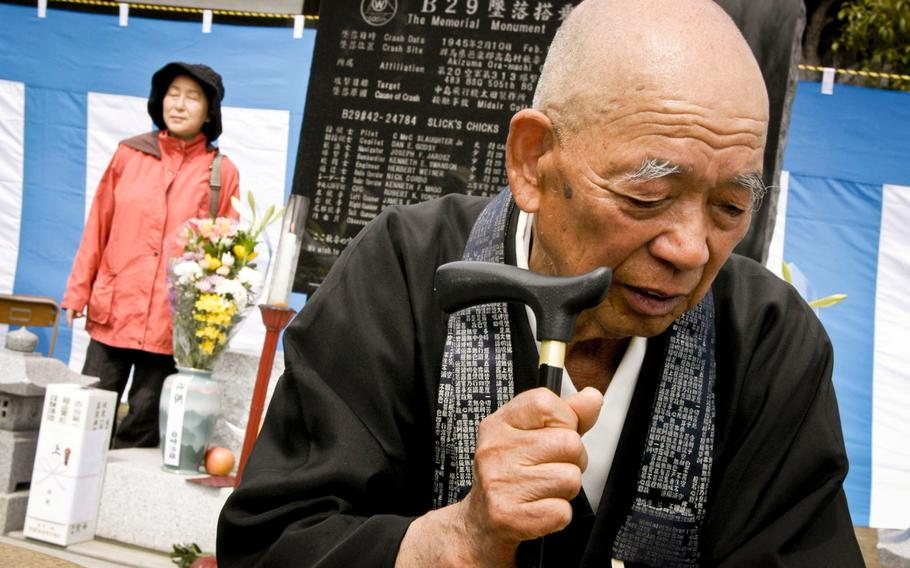 Nobuo Kizaki, the chief priest of the Seiganji temple in Ora, Japan, talks with reporters on March 20, 2013, after a ceremony at the Buddhist temple that honored 23 U.S. servicemembers who died when their B-29 bombers crashed over the rural community Feb. 10, 1945.