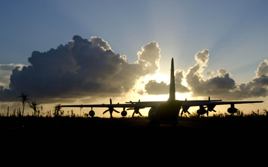 A C-130 aircraft at Borongan, Philippines, prepares to take off to deliver relief to victims of Super Typhoon Haiyan, Nov. 18, 2013.  Eric Guzman/Stars and Stripes