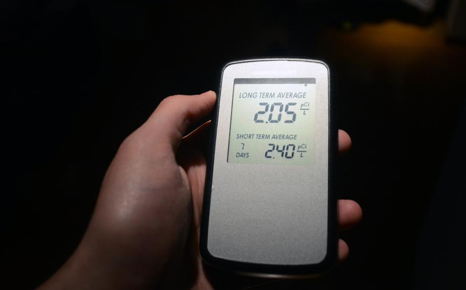 A commercially available radon recorder shows short- and long-term readings for concentrations of the gas at an apartment in Yokohama, Japan. The Environmental Protection Agency recommends that homes testing above four picocuries per liter of radon, a naturally occurring radioactive gas, be fitted with mitigation equipment as soon as possible.