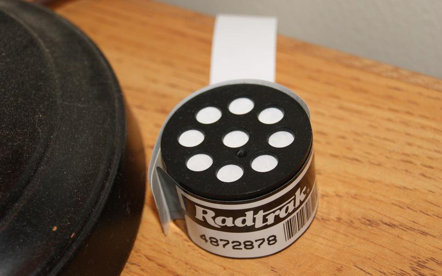 A radon meter sits on a table at a base home located in Okinawa. Officials at Kadena Air Base, which controls all military housing in Okinawa, say they have tested thousands of homes for radon during the past few years.