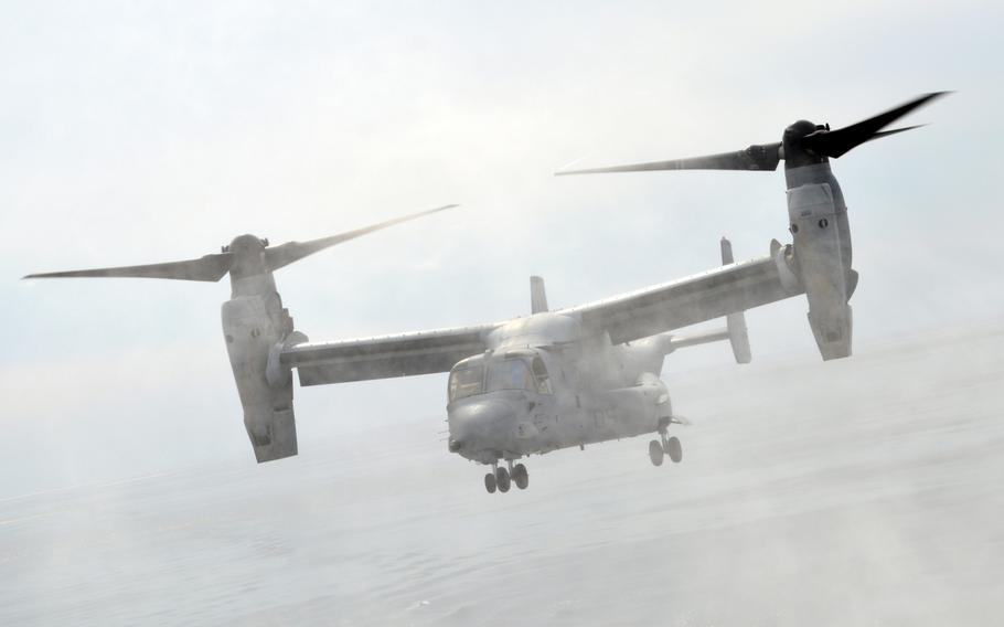 An MV-22 Osprey kicks up ocean spray as it makes another landing on the ROKS Dokdo on March 26, 2015. The two MV-22s that were part of the exercise performed several touch-and-go landings of the southern coast of the Korean peninsula.