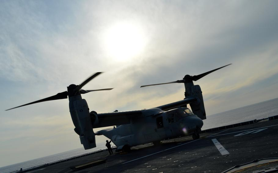 An MV-22 Osprey prepares to take off from the deck of the ROKS Dokdo off the southern coast of the Korean peninsula on March 26, 2015. The MV-22 belongs to the Marine Medium Tiltrotor Squadron 262 Reinforced.