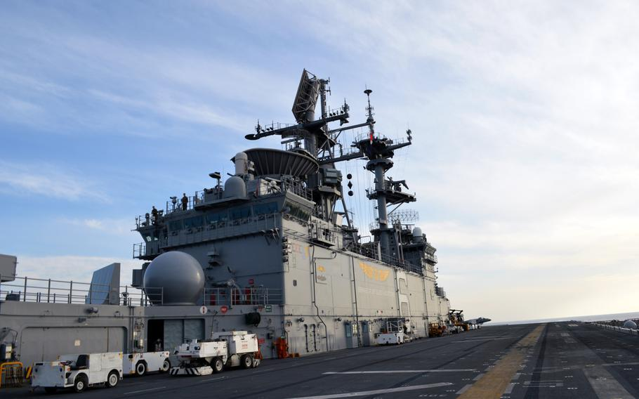 The deck of the USS Bonhomme Richard on March 26, 2015. The vessel is part of Amphibious Squadron 11.
