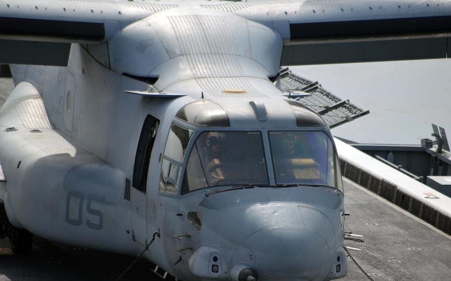 An MV-22 Osprey lands successfully on the deck of the ROKS Dokdo off the southern coast of the Korean peninsula on March 26, 2015. This was 1 of 2 MV-22 aircraft that did several touch-and-go landings on the South Korean vessel.