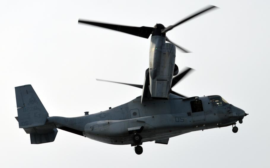 An MV-22 Osprey takes off from the ROKS Dokdo off the southern coast of the Korean peninsula on March 26, 2015. Two of the tilt-rotor aircraft took off from the amphibious assault ship to land on the ROKS Dokdo, the 1st time an MV-22 had landed on a South Korean ship.