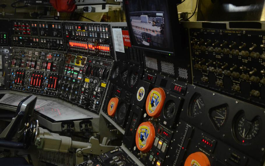 The guided-missile submarine USS Michigan's control panel, as seen while the boat came in for a port visit at Yokosuka Naval Base on July 10, 2015.