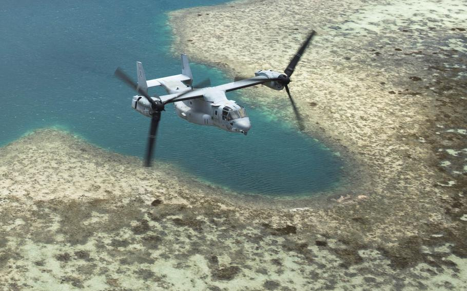 An MV-22 Osprey tiltrotor aircraft flies over the Northern Marianas Islands, Aug. 13, 2015. The Department of Navy has ordered further environmental study ahead of a proposed training facilities expansion on the U.S. commonwealth's Tinian and Pagan islands in the northern Pacific.