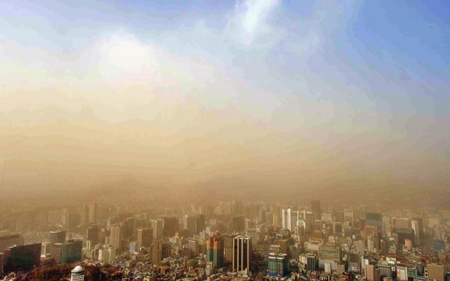HwangSa — also known as yellow sand and Asian dust — originates in northern China and Mongolia and has been known to engulf cities in South Korea. Mountains and the tops of tall buildings fade in the smog. Warnings are issued for residents to stay inside on the worst days.