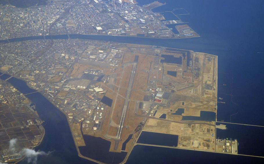 An aerial view of Marine Corps Air Station Iwakuni on mainland Japan.