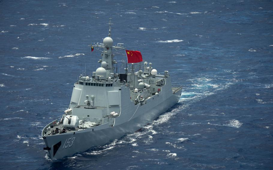Chinese Navy guided-missile destroyer Xian steams in the Pacific Ocean during Rim of the Pacific 2016.