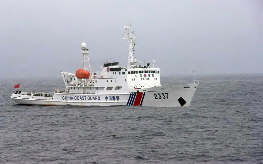 A Chinese coast guard vessel sails in Japanese territorial waters near the contested Senkaku Islands, May 8, 2017.