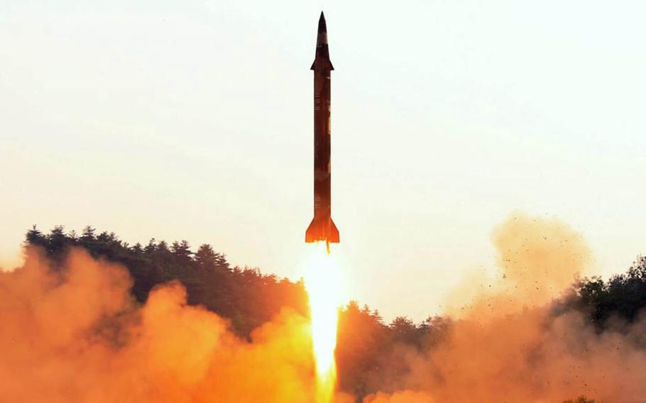 This undated image released in May by the Korean Central News Agency shows a missile being launched from North Korea.