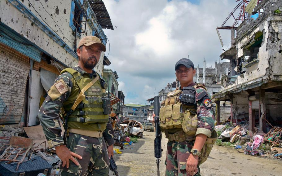 Philippine Rangers Capt. Alex Estabaya and Capt. Ramse Dugan fought in the battle to liberate Marawi from Islamic State insurgents.