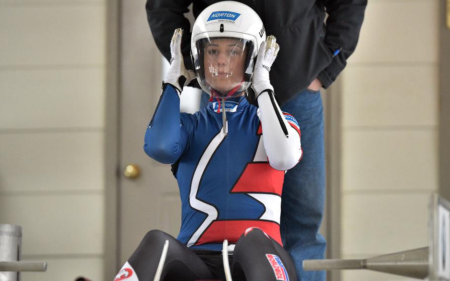 Army Sgt. Emily Sweeney will compete in the luge at next month's Olympic Games in South Korea, along with Sgt. Taylor Morris and Sgt. Matthew Mortensen.