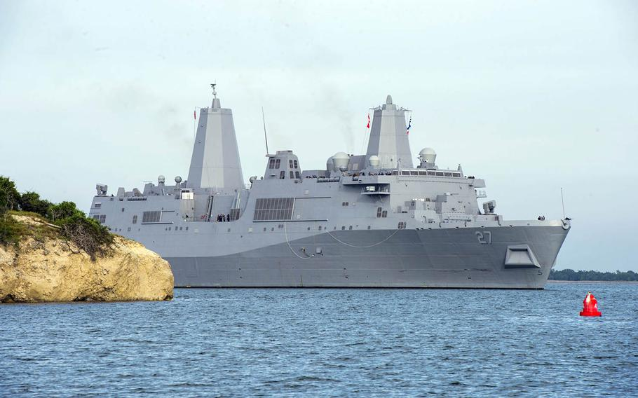 The amphibious warship Portland LPD-27 transits Guantanamo Bay, Jan. 2, 2018. It is scheduled for a commissioning ceremony in its namesake city of Portland, Oregon, in April and has been tapped to be the flagship for this summer's Rim of the Pacific exercise in Hawaii.
