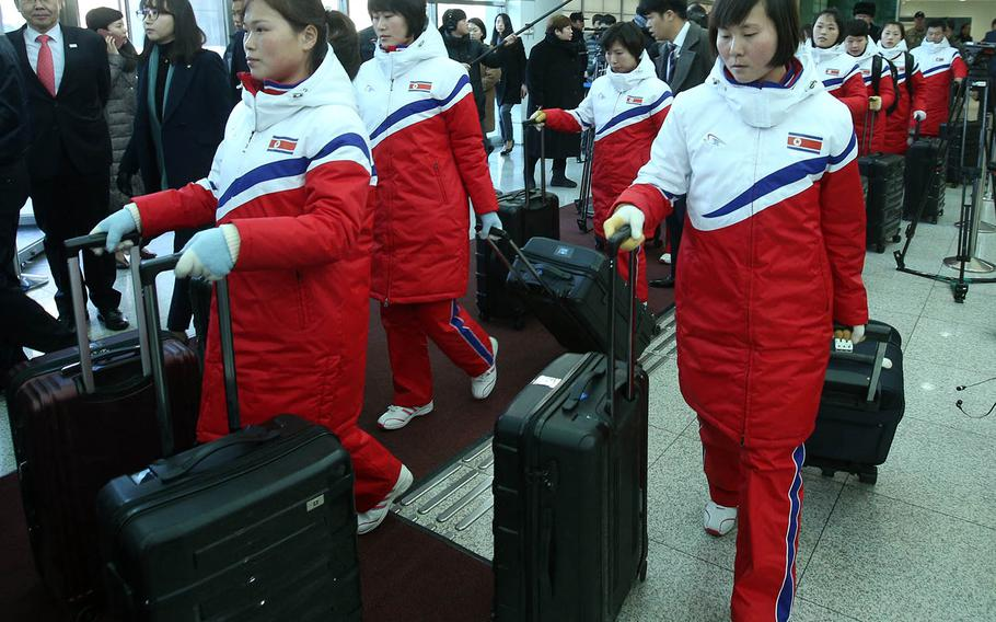 Members of the North Korean women's ice hockey arrive in South Korea on Thursday, Jan. 25, 2018, to prepare for the Olympics. The two countries have agreed to compete with a combined team in the sport.