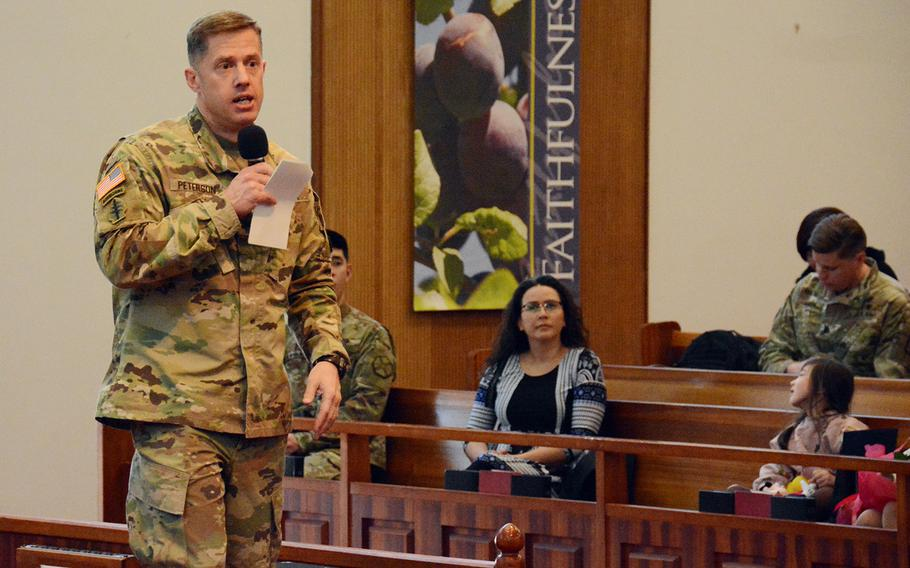Col. Scott Peterson, Yongsan Garrison commander, speaks during a town-hall meeting, Tuesday, Feb. 13, 2018.