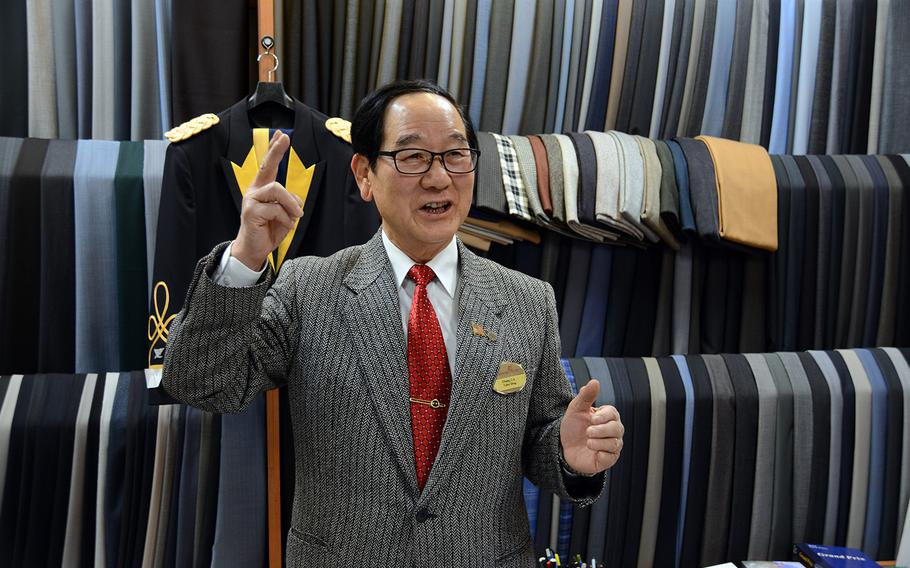 Chang Chin-kuk is interviewed in December 2017 at his tailoring company inside Dragon Hill Lodge at Yongsan Garrison, South Korea. Chang has owned the store for nearly two decades.