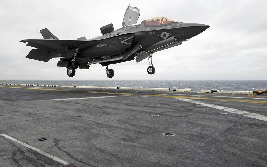 A Marine Corps F-35B Lightning II aircraft with Marine Fighter Attack Squadron 121 touches down on the amphibious assault ship USS Wasp, March 4, 2018.