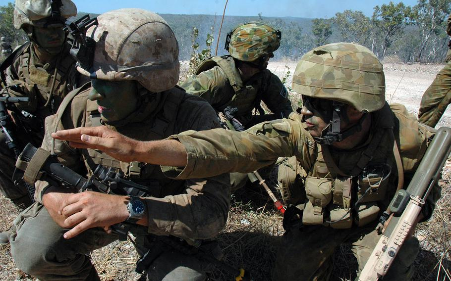 U.S. Marines and Australian soldiers train at Mount Bundey Training Area during a past rotational deployment to Darwin, Australia.