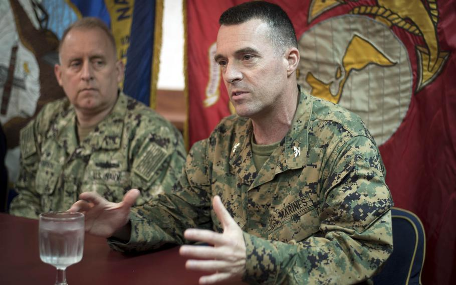 Col. Tye Wallace, 31st Marine Expeditionary Unit commander, speaks to reporters about the F-35B Lighting II aboard the USS Wasp, Friday, March 23, 2018.