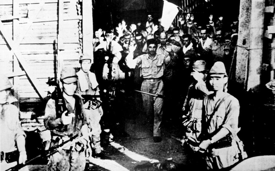 This May 1942 photo shows the surrender of American troops at Corregidor, Philippines, during World War II.