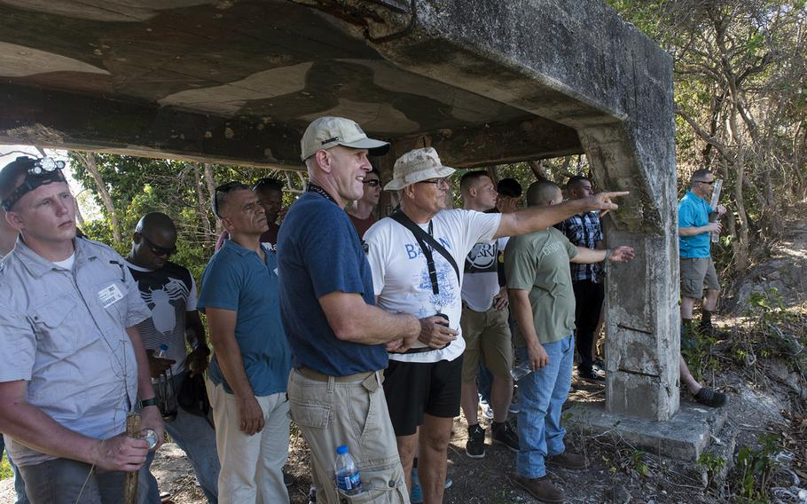 Marine Col. Kevin Norton, 4th Marine Regiment commander, leads a group of Marines through a tour of former fighting positions at Corregidor, Philippines, May 5, 2017.