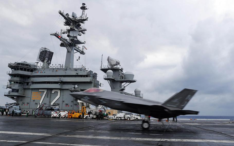 An F-35C Lightning II lands on the flight deck of the aircraft carrier USS Abraham Lincoln last month in the Atlantic Ocean.