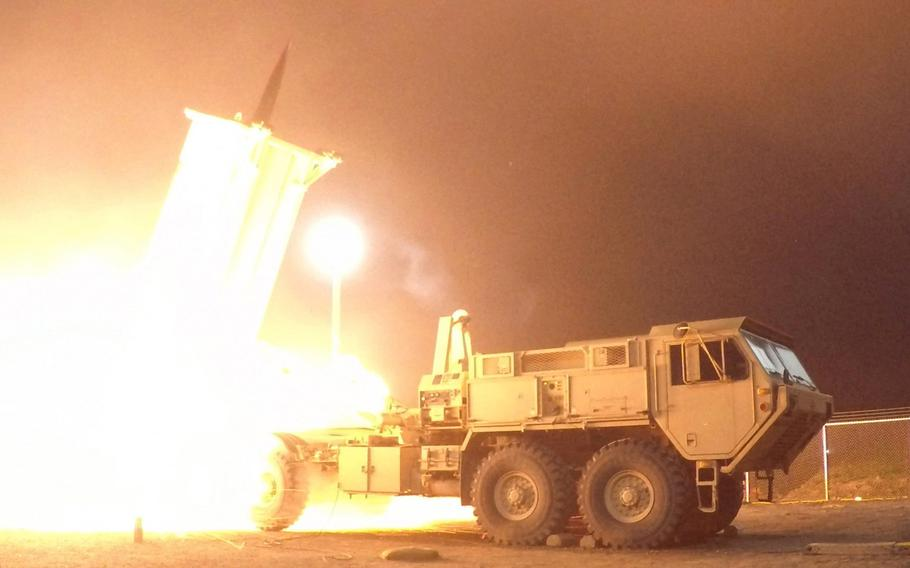 A Terminal High Altitude Area Defense, or THAAD, interceptor is launched from the Pacific Spaceport Complex Alaska in Kodiak, Alaska, during a test on July 30, 2017.