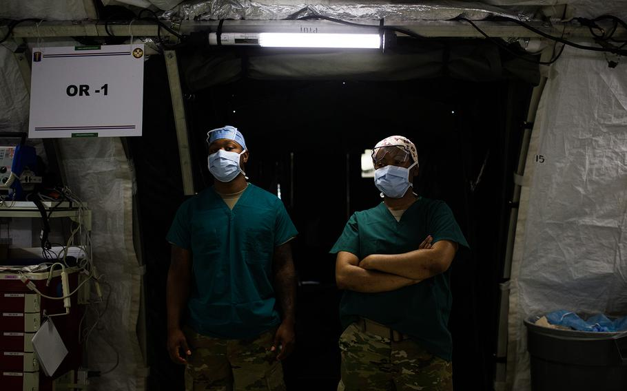 A surgical team awaits their patient during a mass casualty scenario at the 121st Combat Support Hospital on Camp Humphreys, South Korea, Friday, April 20, 2018.