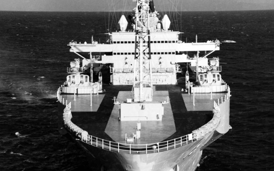 The USS Blue Ridge steams near Oahu, Hawaii, Sept. 3, 1977. Commissioned in 1970, it is the Navy's oldest deployable warship and its second oldest active vessel.