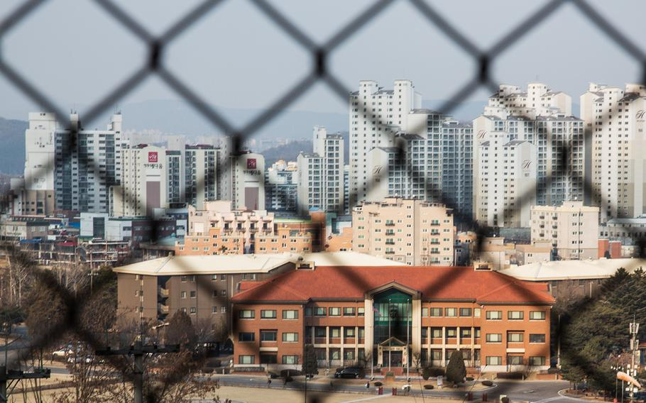 The skyline of Uijeongbu, South Korea, overlooks the 2nd Infantry Division headquarters at Camp Red Cloud, March 3, 2017.
