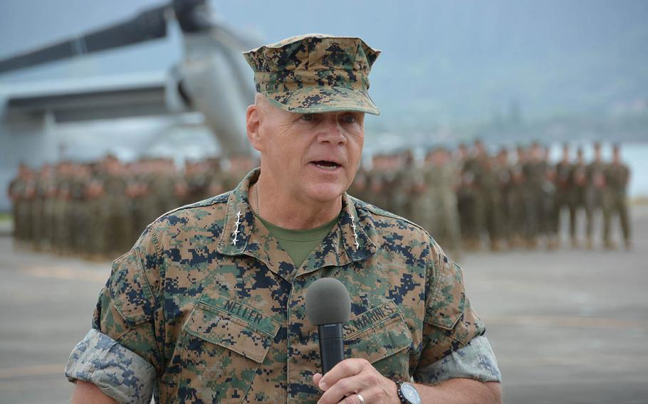 Commandant of U.S. Marine Corps Gen. Robert Neller speaks at the change-of-command ceremony at Marine Corps Base Hawaii, Wednesday, Aug. 8, 2018.