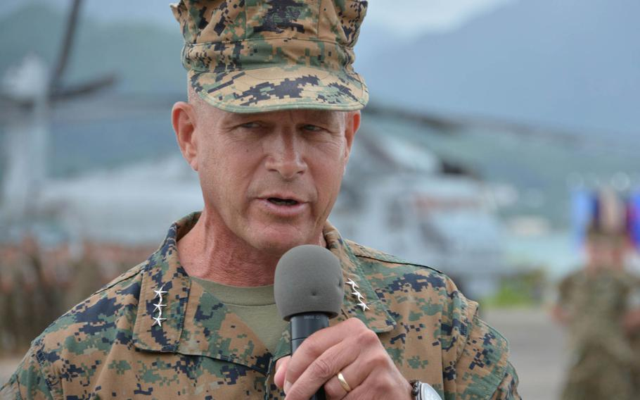 Lt. Gen. Lewis Craparotta, incoming commander of Marine Corps Forces Pacific, addresses the audience at the change-of-command ceremony at Marine Corps Base Hawaii, Wednesday, Aug. 8, 2018.