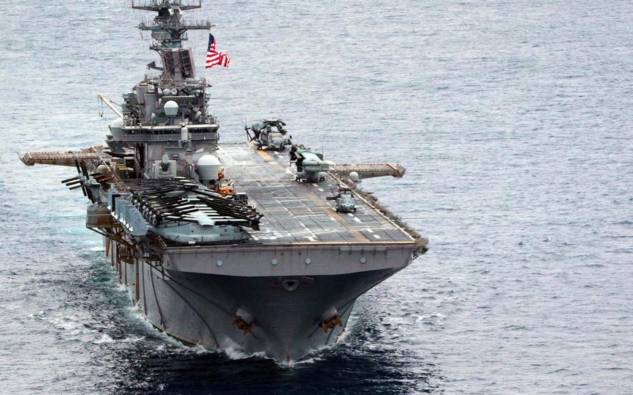 The amphibious-assault ship USS Wasp steams through the Philippine Sea, April 17, 2018.