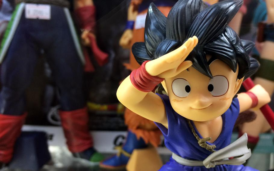 A Dragon Ball Z figurine on display at Nakano Broadway in Tokyo. Here anime and manga lovers can find a wide variety of items, from keychains to costumes featuring their favorite characters.