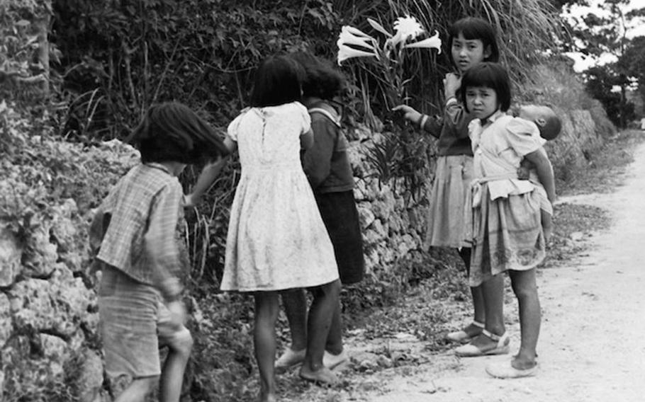 A group of Okinawan girls is pictured in this photo taken by Army Capt. Charles Gail, who was stationed on the Japanese island prefecture in 1952 and 1953.