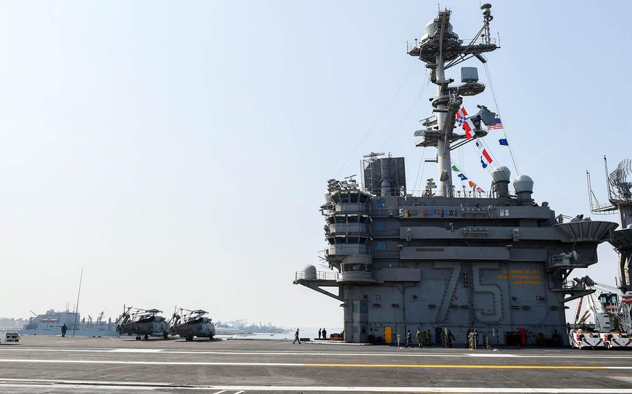 The aircraft carrier USS Harry S. Truman departs Naval Station Norfolk, Va., Tuesday, Aug. 28, 2018.